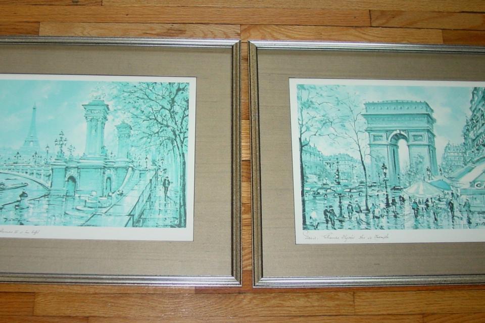 Pair of Framed Prints featuring Paris - Pont Alexandre III, Tour Eiffel, Arc de Triomphe, Champs Elysees Large Photo