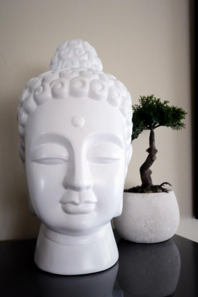 White ceramic buddha head  Large Photo