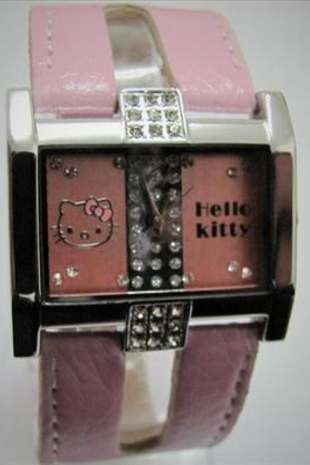 Hello Kitty SQUARE Quartz Wrist Watch - with Crystals - Pink Band and Face  -  Perfect Gift Photo