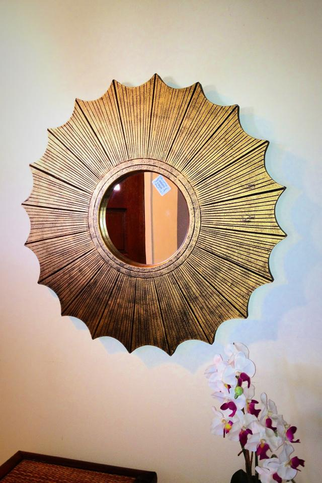 Gold starburst wood wall mirror  Large Photo