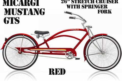 Micargi Mustang GTS Red Mens Oversize Stretch Cruiser Chopper Bicycle Pho