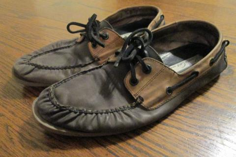 Kenneth Cole New York 2 Tone Leather Boat Shoes, Moccasins, Men, Size 10 Photo