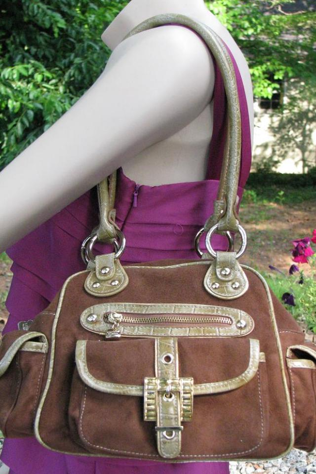  Kathy Van Zeeland Brown/Gold Large Satchel Bag w Gold tone hardware Photo
