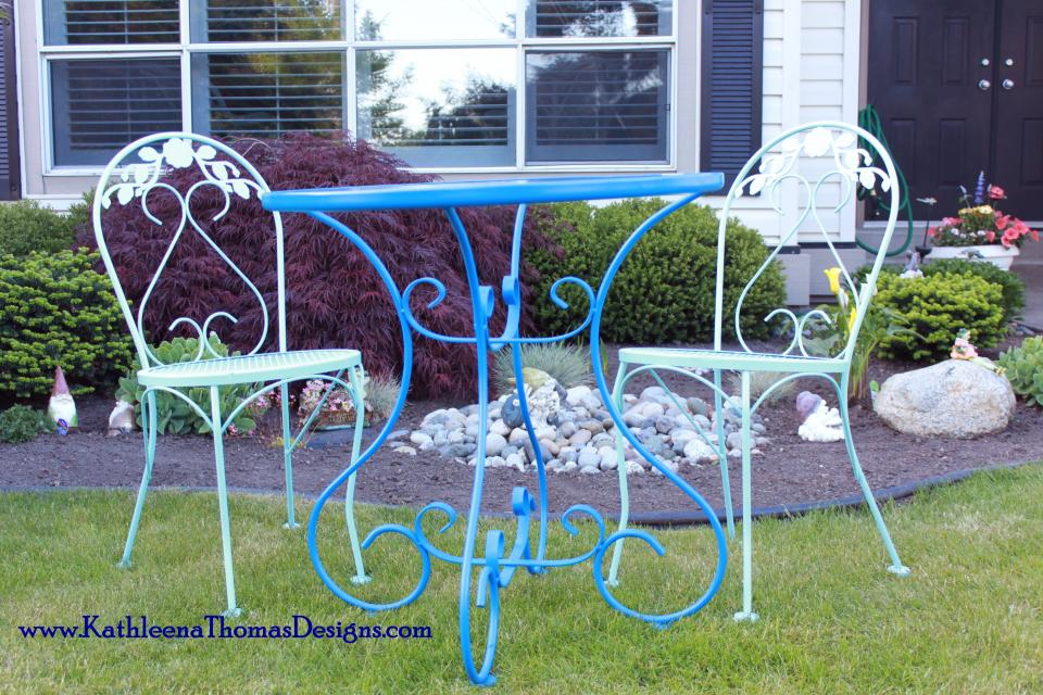 Wrought Iron Bistro Set Large Photo