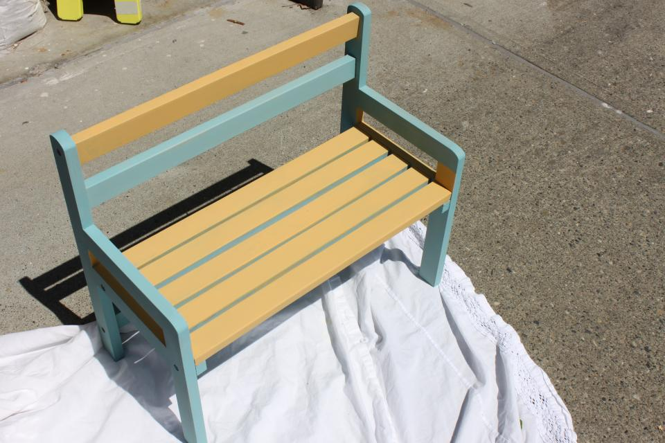 Yellow and Blue Children's Bench Large Photo