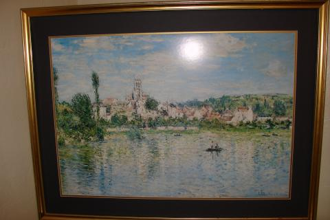 Claude Monet Watercolor framed and matted Print Photo