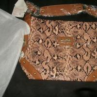 Coach Python Embossed Leather Bag Brown/peach Photo