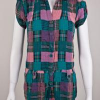 Pink, Blue, Green and Black Plaid Romper Photo