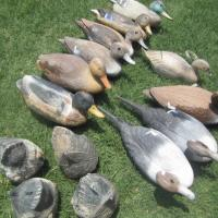 10 vintage duck decoys and 4 butts Photo