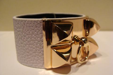 Hermes (inspired) Collier de Chien White Leather & Gold Hardware Photo