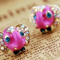 Super Cute Pink Elephants  w/ Crystals Earrings Free Shipping. Photo