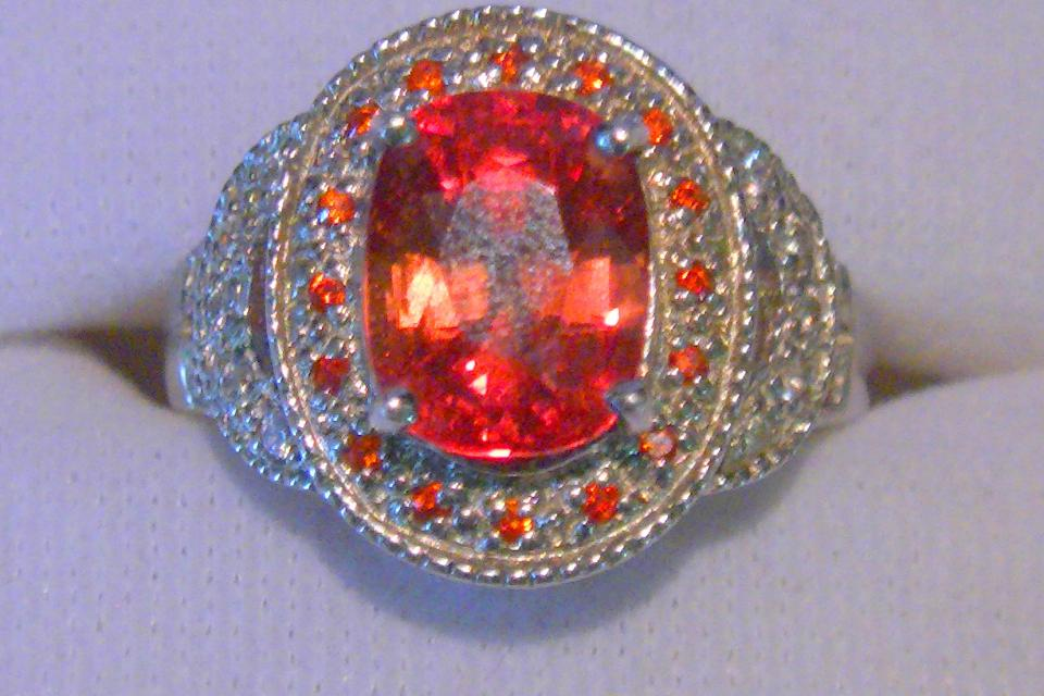 Detailed Padparadscha Ladies ring Large Photo