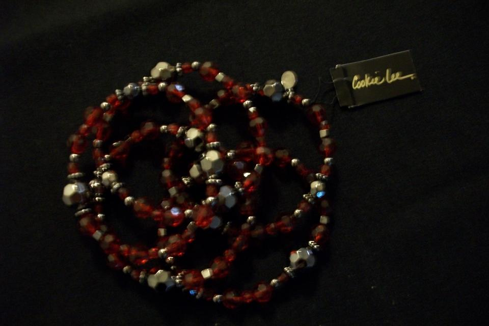 Set of 5 Cookie Lee Ruby and Metalic Black Braclets Large Photo