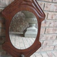 Antique Oak Mirror with Coat Hook Photo