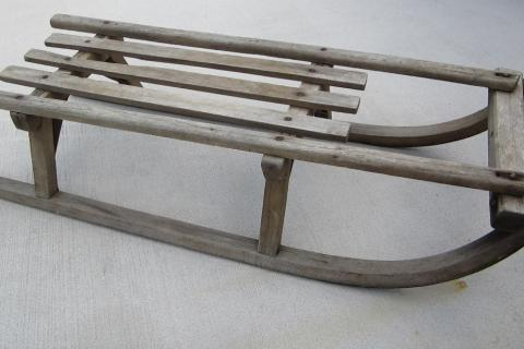 Antique Wooden Sled Sleigh Photo
