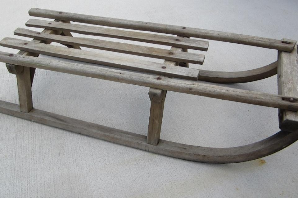 Antique Wooden Sled Sleigh Large Photo