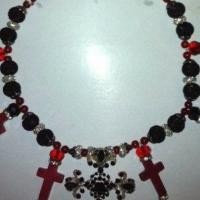 Red and Black Cross Necklace Photo