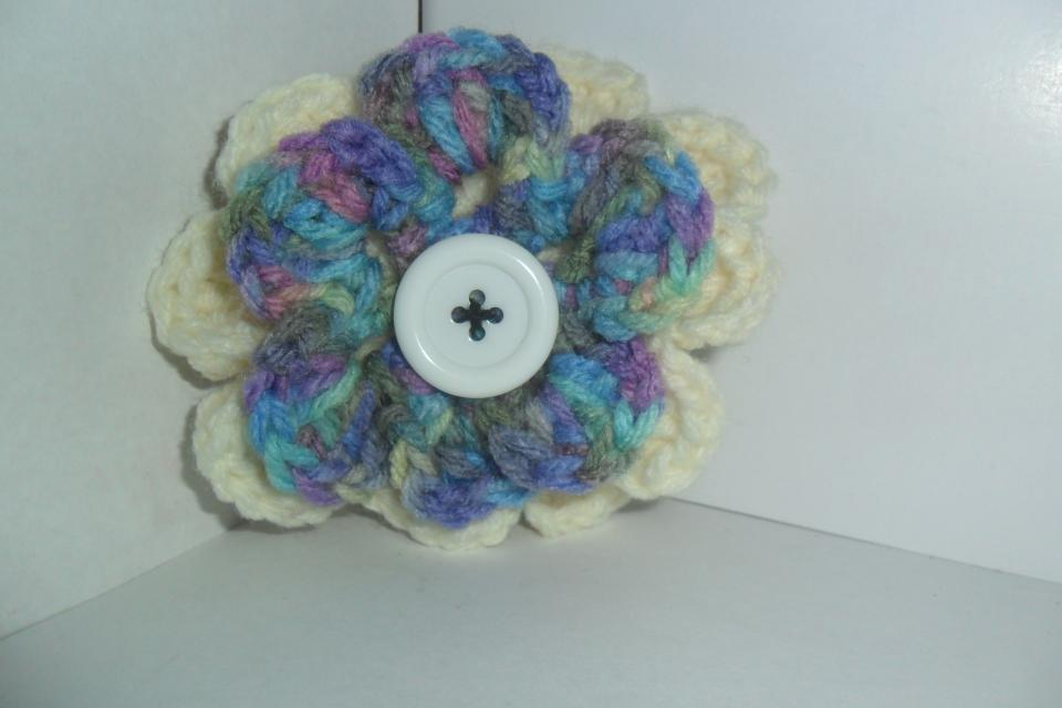 Crochet Flower Hair Clip Large Photo