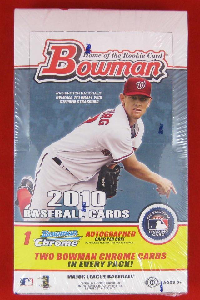 2010 BOWMAN BASEBALL FACTORY SEALED HOBBY BOX – Strasburg and Harper Rookie Card Photo