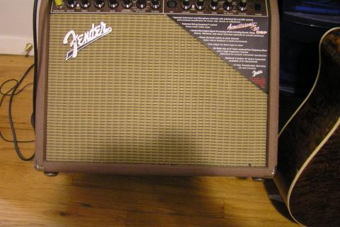 Fender Amp and Acoustic/Electric Guitar Photo