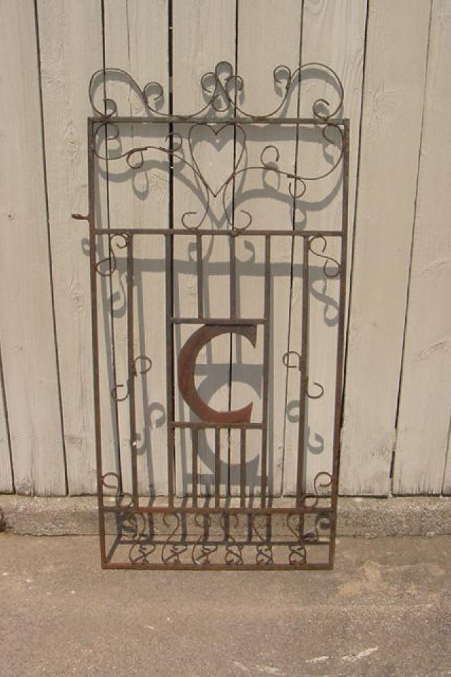 WROUGHT IRON GATE WITH BIG C AND HART VERY OLD Large Photo