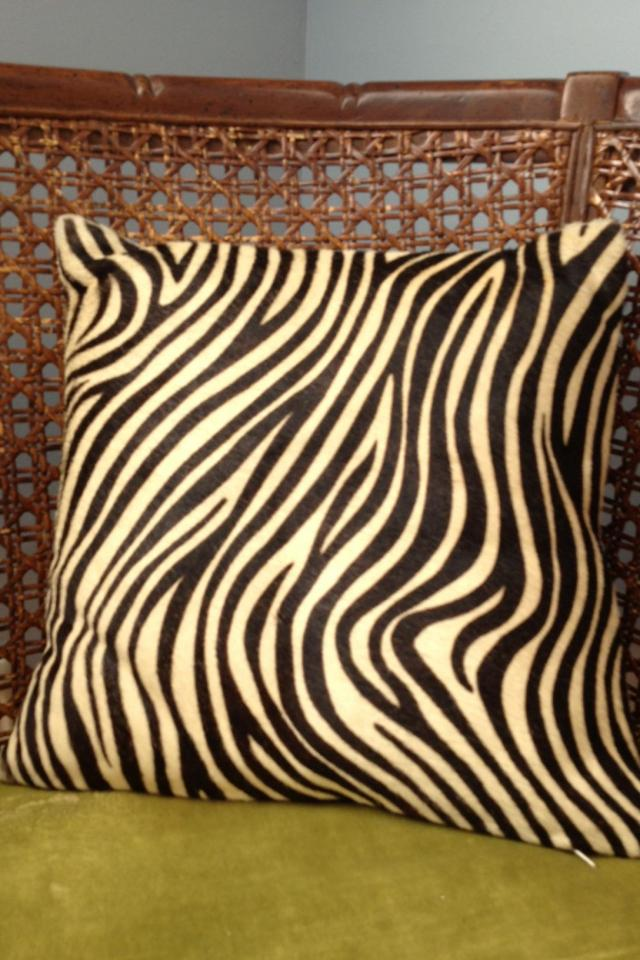 Zebra Print Horsehair Pottery Barn Throw Pillow Large Photo