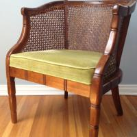 Vintage Bamboo Chair with Herb Velvet Upholstery Photo