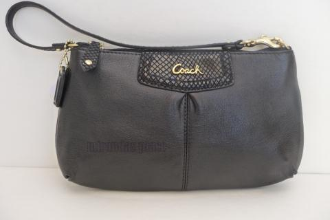 COACH  Wristlet Ashley Large Leather Clutch Black pouch  Photo
