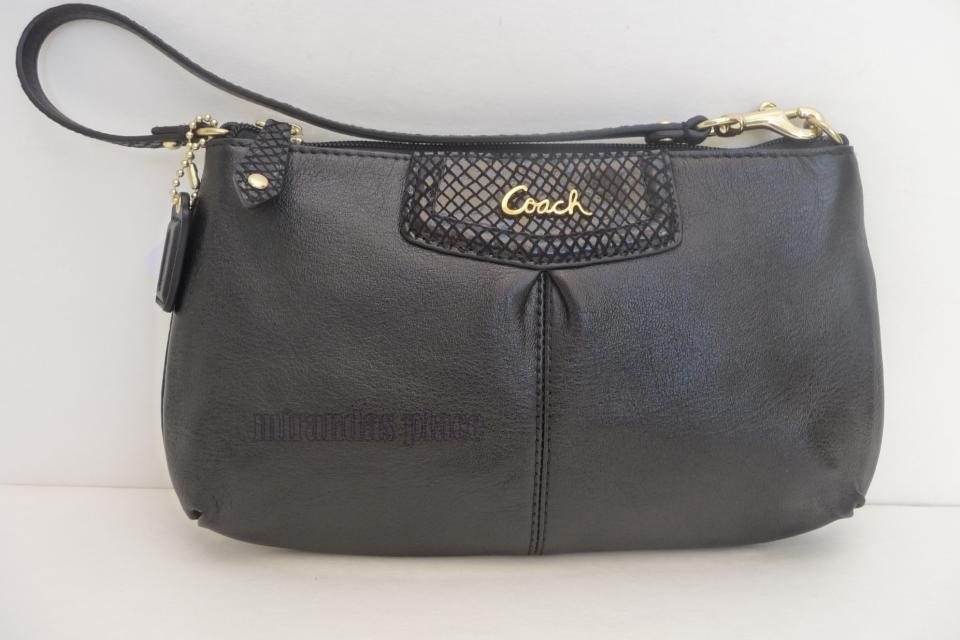 COACH  Wristlet Ashley Large Leather Clutch Black pouch  Large Photo