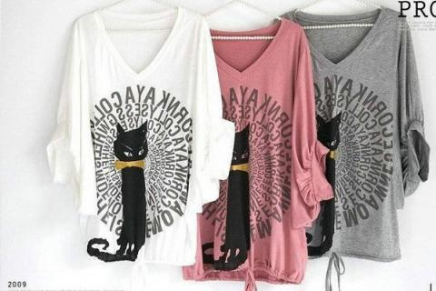 Women's Large Casual Black Cat Bat Half Long Sleeve T-shirt Tops Blouses Photo