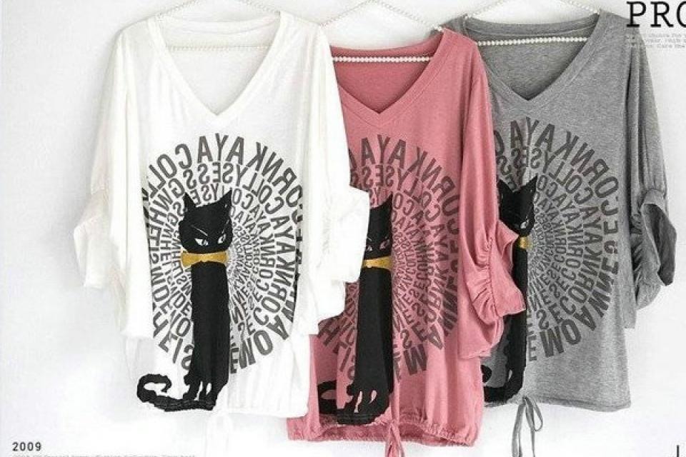 Women's Large Casual Black Cat Bat Half Long Sleeve T-shirt Tops Blouses Large Photo