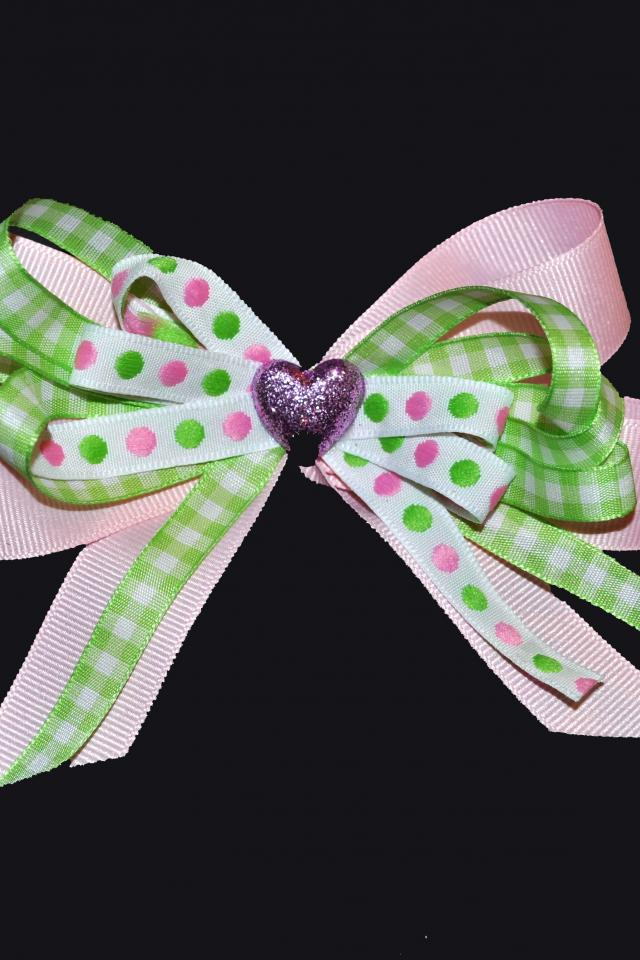 Sweet Pea- Pink & Green Hair Bow Large Photo