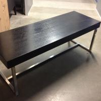H.D. Buttercup Solid Dark Wood Top Coffee Table W/ Brushed Chrome Base Photo