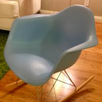 DWR Design within reach Herman Miller Eames Molded Plastic Rocker Chair in Sky Blue Photo