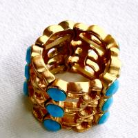 Trendy Gold and Tourquoise Fashion Ring Photo