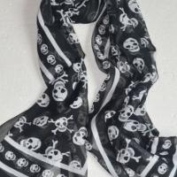 Free Shipping Black and White Long Skull Scarf Photo
