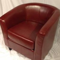 Red Leather Tub Chair Photo