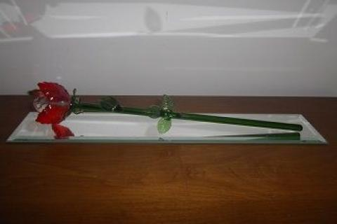 Beautiful glass rose decoration, includes mirror Photo