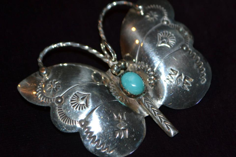 Silago Navajo Silver Turquoise Butterfly Pin or Pendant Large Photo