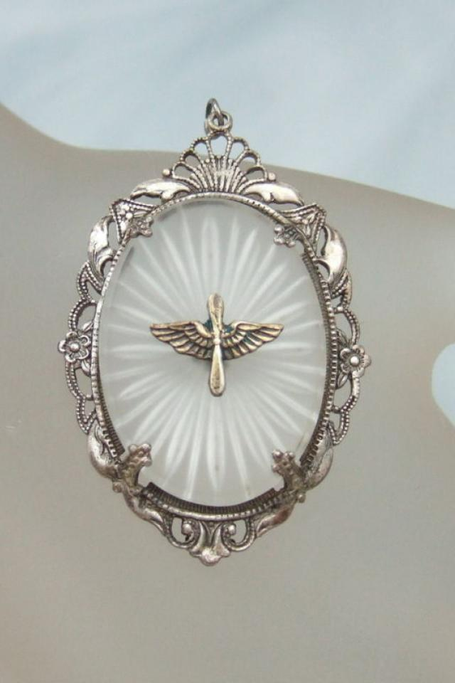 Art Deco sterling silver 1940s Army Air Corps Pendant  Large Photo