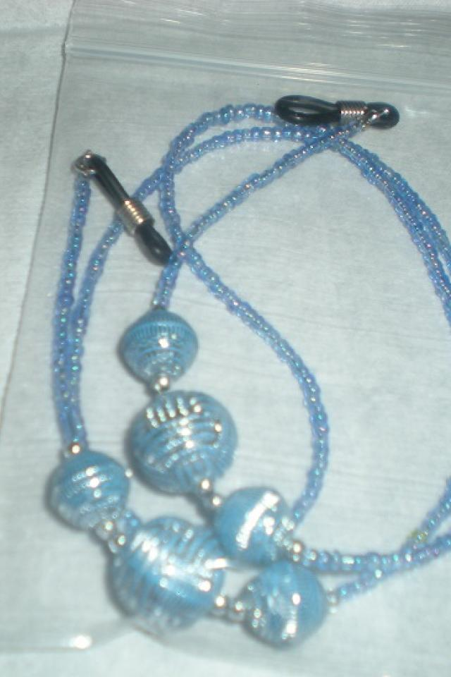 Beaded Blue EyeGlass Chain Large Photo