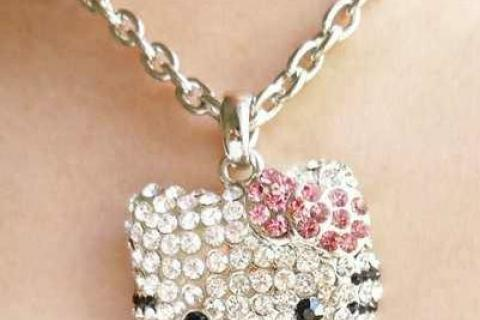 NEW Rhinestone Hello Kitty Necklace, SUPER CUTE Photo