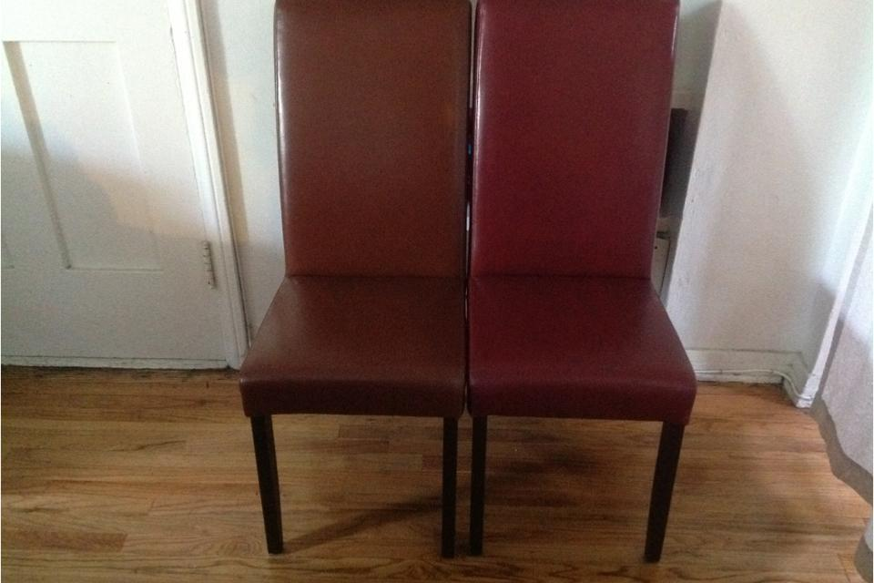 Red brand new leather chairs Large Photo