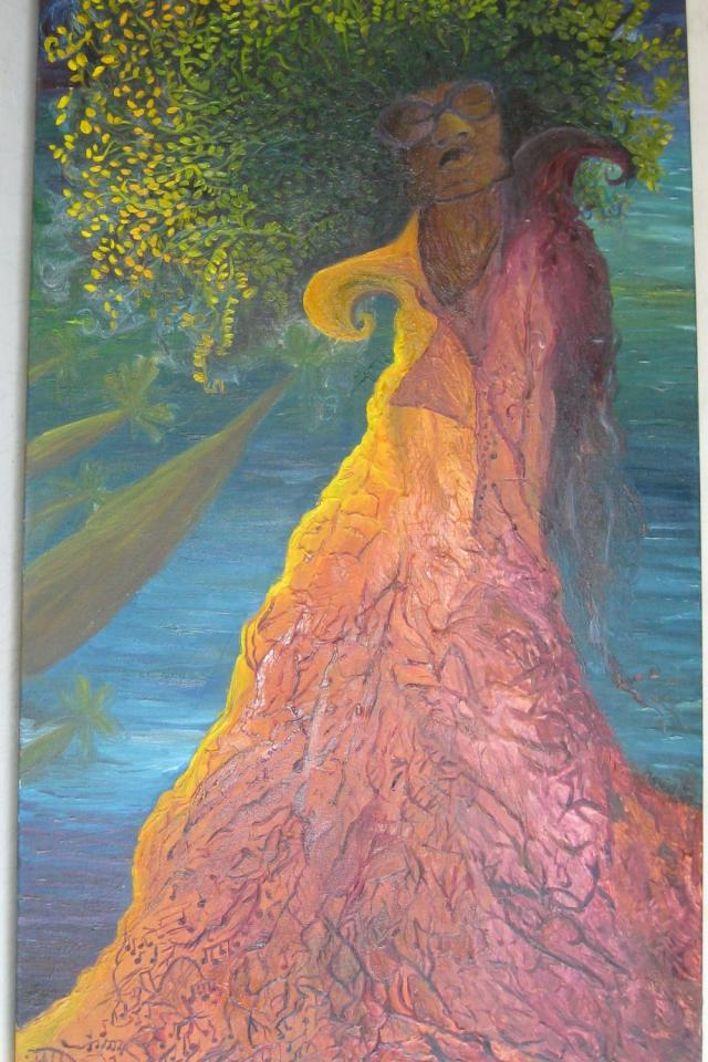 Original Oil on Canvas Music Tree by Natalia Panilla Photo