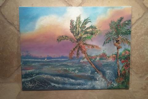Windy Beach Scenery Original Hand Painted Oil Painting Photo