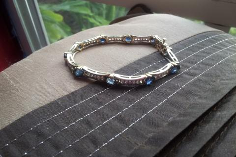 Diamond and RARE sapphire tennis bracelet. Photo