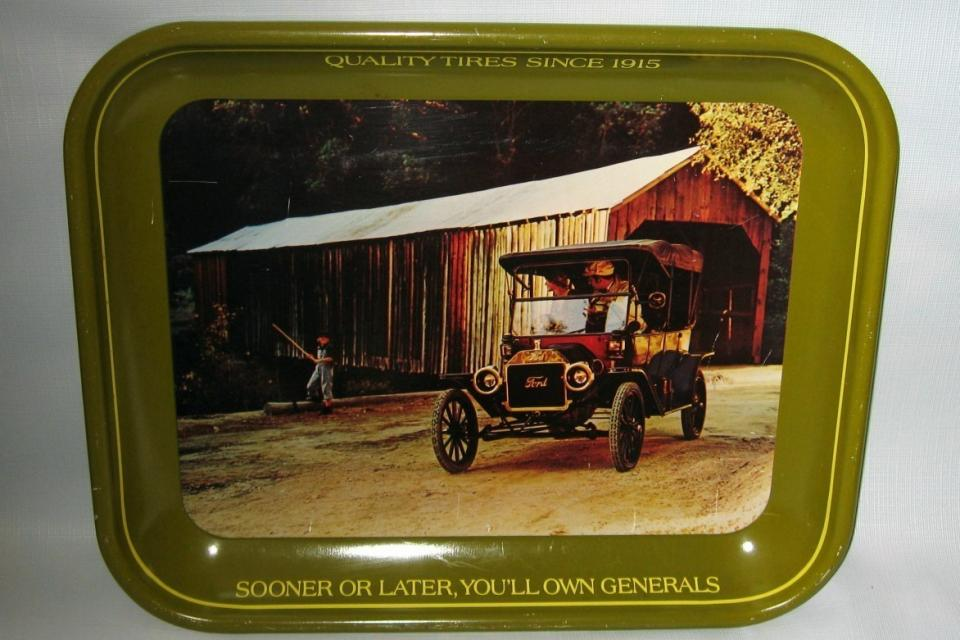 VINTAGE GENERAL TIRES TRAY-1913 FORD MODEL T TOURING CAR Large Photo
