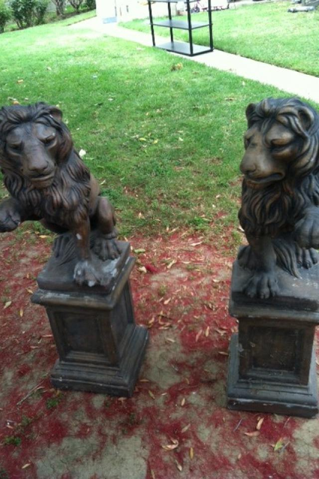 2 Concrete Lion Statues with Pedestals Large Photo