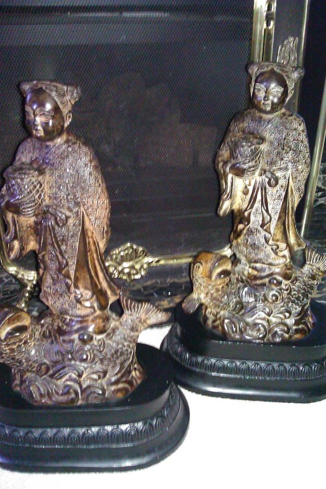ORNATE JAPANESE BRASS STATUES 1.5 FT TALL 20 LBS EACH Photo