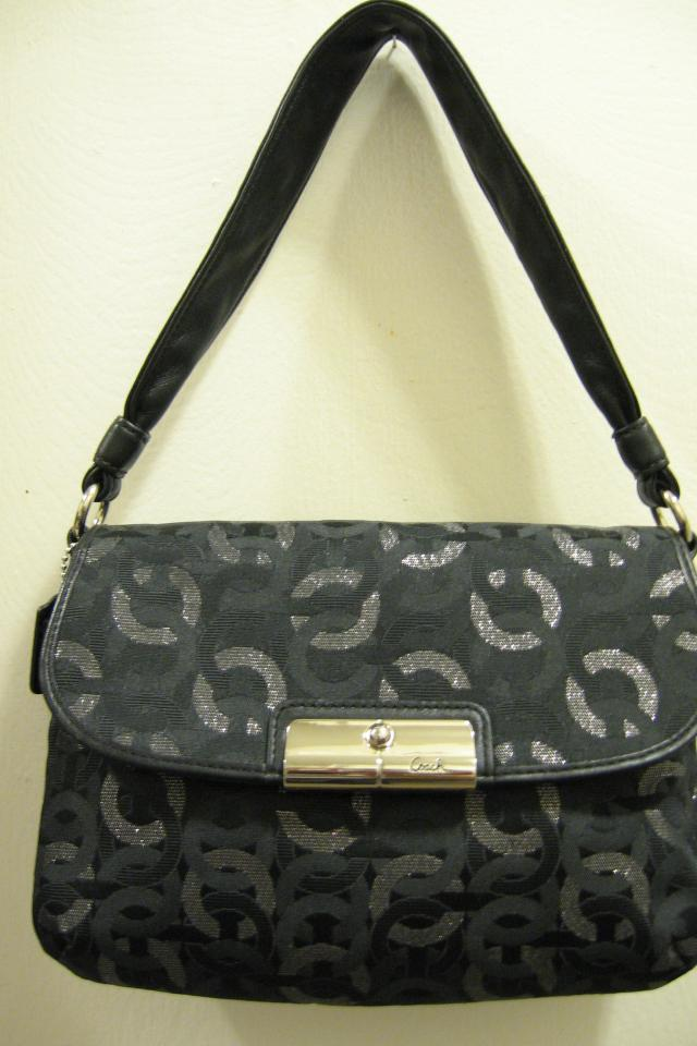 *NEW* AUTHENTIC COACH KRISTEN; BLACK LUREX CHAINLINK SIGNATURE C TOP HANDLE BAG #46370 Photo